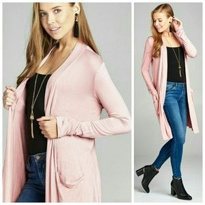 Pink long length open front cardigan with pockets